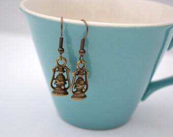 Lantern Earrings- Camping Out- Bronze Charm Earrings