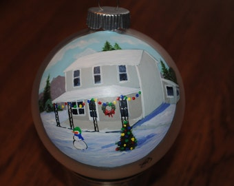 Custom Hand painted home Christmas Ornament done from picture.  - sold this is a sample