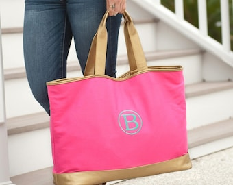 Personalized Hot Pink Cabana Large Tote, Monogrammed, Tote Bag, Diaper Bag, Gym Bag, Personalized Gift