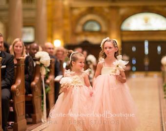 Blush Flower Girl Dress, Blush tutu dress, Flower Girl Tutu Dress, Wedding tutu dress, Blush and pearls flower girl tutu.