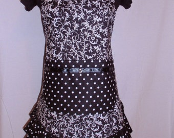 Black and White Scroll Apron