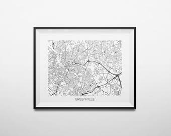 Greenville, South Carolina Abstract Street Map Print