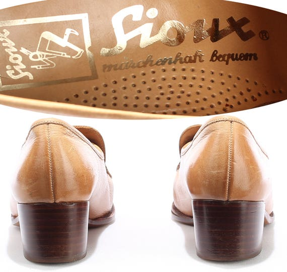 39 Shoes Eur 70s women Germany Quality HANDMADE FIT Retro 6 Heeled Beige Vintage Us Uk European 8 Leather Bohemian Loafers WIDE 5 6AwBcUqxgH