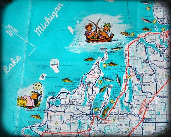 Lake Michigan retro map print funky vintage turquoise photo