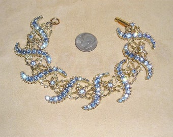 Vintage Chic Baby Blue Rhinestone Bracelet And Faux Pearls 1960's Jewelry 11259