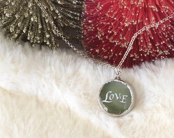 Love Necklace. Silver Love Necklace. Love Glass Necklace. Round Pendant Necklace. Christmas Gift for Her. Original and Unique Spiritual Gift