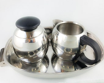 Chrome Cream and Sugar Set with Tray