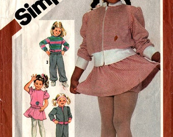 1982 Girls' PANTS SKIRT JACKET Top Panties Pattern Simplicity 5775 Size Large 5-6 Stretch Knits Retro School Sewing Vintage
