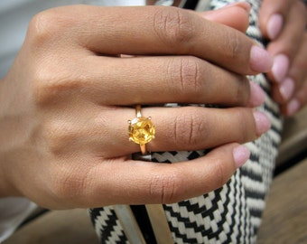 ETSY BIRTHDAY SALE - Citrine ring,November birthstone ring,stacking ring,gemstone ring,custom semiprecious ring,Yellow ring,quartz ring