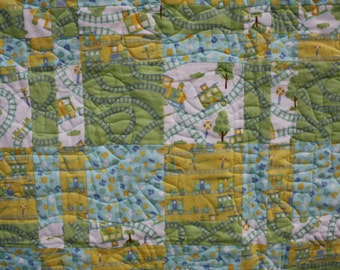 Flannel Baby/Toddler/Lap Quilt - Trains - Green/Yellow/Blue/White