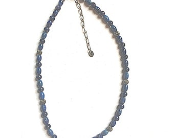 Vintage Sterling Silver and Lapis Lazuli Round and Elongated Bead Necklace