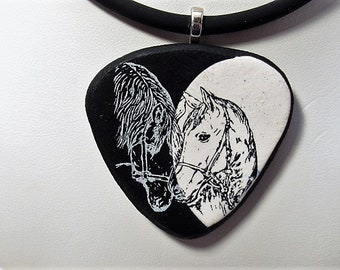 Necklace, Pendant, Silkscreened, Horse, Polymer Clay, Gift for Her