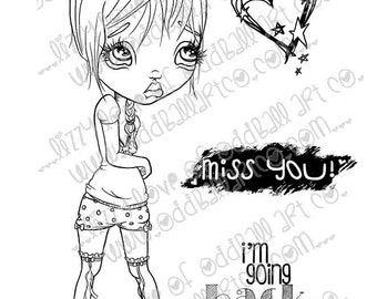 Digi Stamp Digital Instant Download Stamps B-Cute Whimsical Big Eye Girl w/ Sentiments ~ The Grief of Genevieve Image No. 215 by Lizzy Love