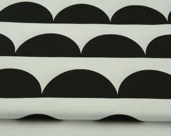 Cotton 100% black half moon on a white background , Scandinavian design, Half Moon Cotton Fabric - Black and White - By the Yard