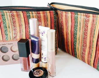 Gold makeup bag - Stripe makeup bag - Makeup bag - Zipper bag - Zipper pouch - Cosmetics organizer - Cosmetic bag - Toiletry bag -Copper bag
