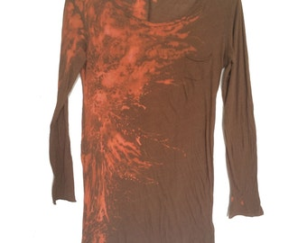 Rainswept in Orange and Brown on Cotton Tunic