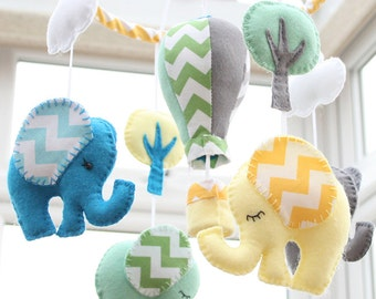Elephant Mobile - Nursery Mobile  -Baby Mobile -  Hot air Balloon -Multicoloured -  MADE TO ORDER