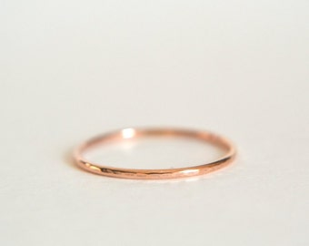 14k Solid ROSE Gold Hammered Band, Rose Gold Hammered Ring, Dainty Ring, Stacking Ring, Stackable Ring,