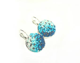 Blue round french knot earrings