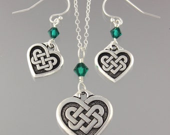 Celtic Quaternary Knot necklace & earring set-Emerald Green Swarovski crystal or birthstone or pearl,sterling silver chain-free shipping USA