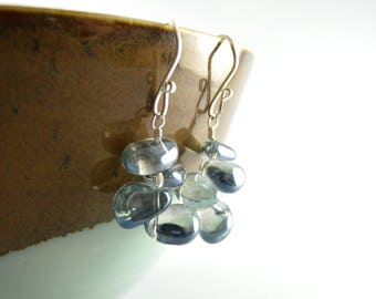 Modern Floating Bubble Aqua Blue Sterling Silver Earrings with Free USA Shipping