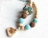 Nursing necklace / Turquoise & brown