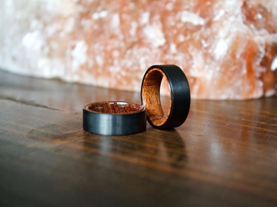 Wood Ring Black Tungsten Carbide Ring Wood Rings wooden