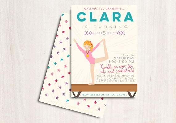 Gymnastics Birthday Invite - Customized Gymnast Party Invitation