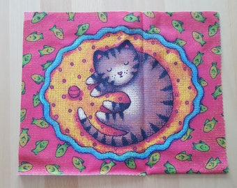 Patchwork cat and fish fabric coupon
