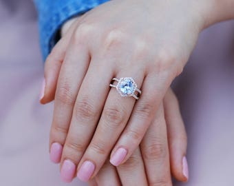 Hexagon Engagement Ring. White to Ice blue Sapphire Ring. 14k Rose Gold 2.5ct Round sapphire engagement ring