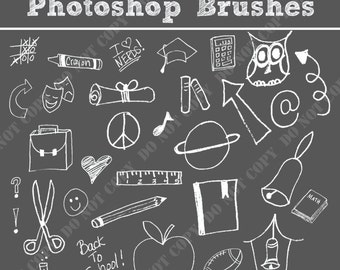 35 Back to School Photoshop Brushes Word Art Set /Chalkboard/ Chalk/ Overlays / Clip Art / Digital Stamps / Digital Scrapbooking