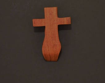 "Wooden Wall Cross; 3""x5""x1""; Rustic Cabin Decor; Wall Cross Decor; Crooked Cross; Mesquite; Handmade;  Free Ground Shipping cc5-5121617"