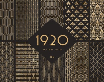 1920 Antique Gold Dark Anthracite Art Deco Digital Scrapbook Papers  - 10 Seamless Great Gatsby Inspired Patterns - JPG - Instant Download
