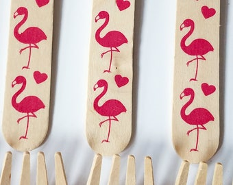 20 Flamingo Wooden Forks - Disposable Eco Friendly Wooden Utensils