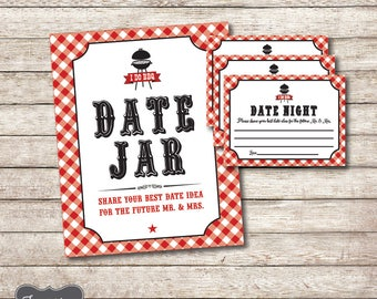 I do BBQ Games, Date Night Jar Sign, Date Night Ideas, Cards Printable, Couples Wedding Shower Decor, Bridal Shower Game, Printable PDF File