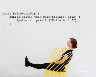 "Science art Computer Java Source Code ""Hello World"" vinyl wall decal (ID: 121052)"