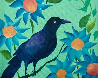 Grackle in the Sunflower Garden on Deep Edge Canvas