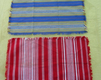 Brightly coloured French linen place mats (2) 1960's