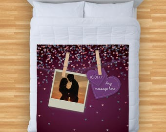 Valentines Day Gift Personalised Photo Design Soft Fleece Blanket Cover Throw Over Sofa Bed Blanket