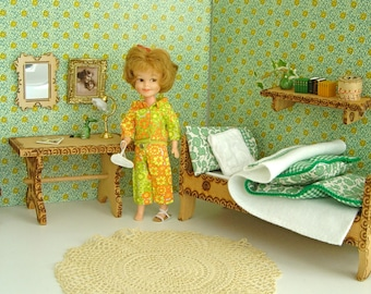 """Flowery Green Wooden DOLL DIORAMA BEDROOM set with handmade bed linen for Alexanderkins, Mini American Girl, Lottie, and other 7""""-8"""" dolls"""