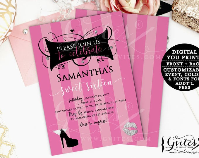 Sweet 16 birthday invitations, pink and silver, designer invites, couture printable invitations, fashion, glitz and glam, 5x7, double sided