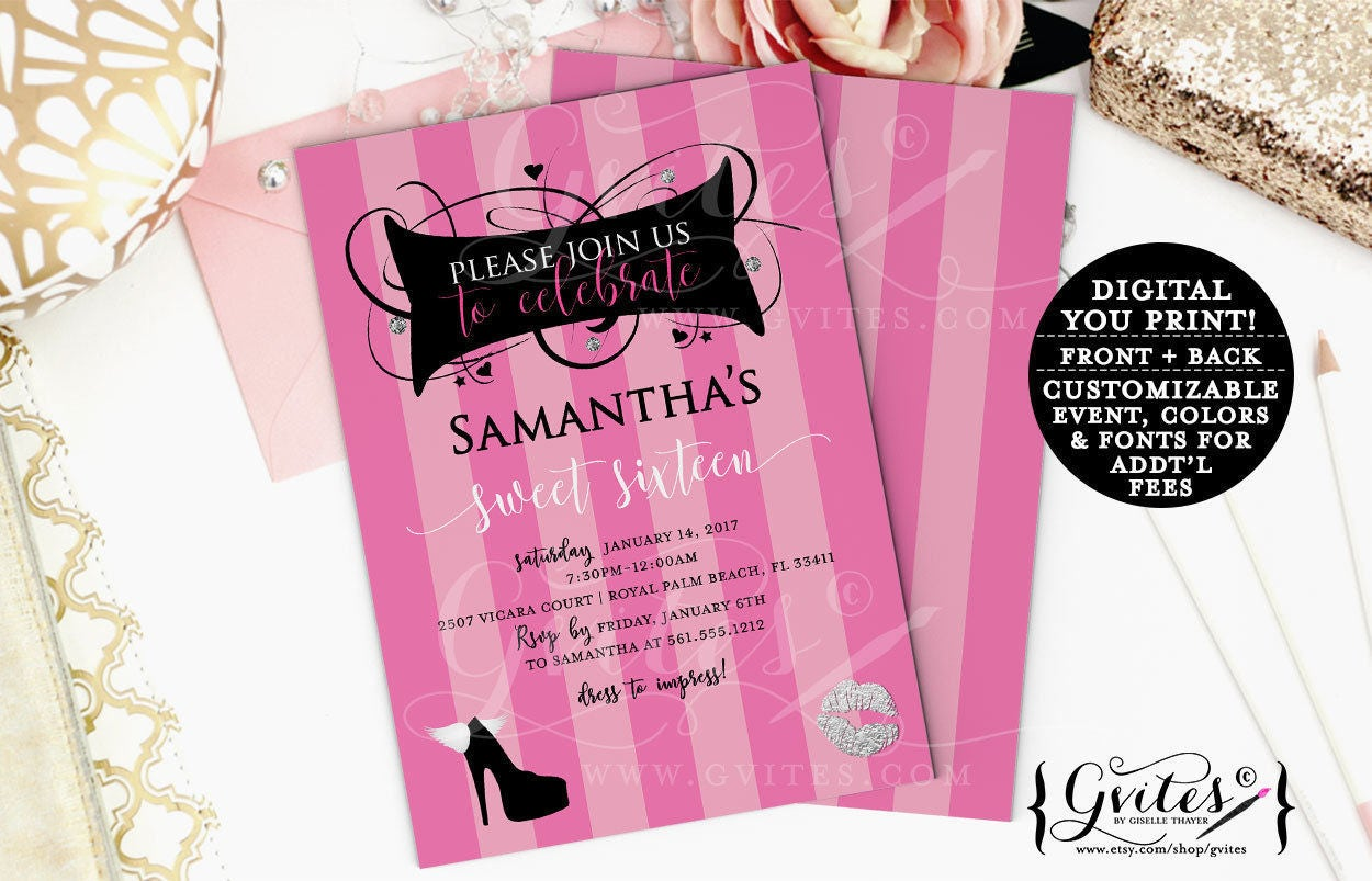 Sweet 16 birthday invitations, pink and silver, designer invites ...