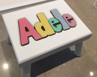 "WHITE Name Puzzle Stools (""FREE"" Shipping) (Put Child's Name in Notes to Seller on Checkout Page)"