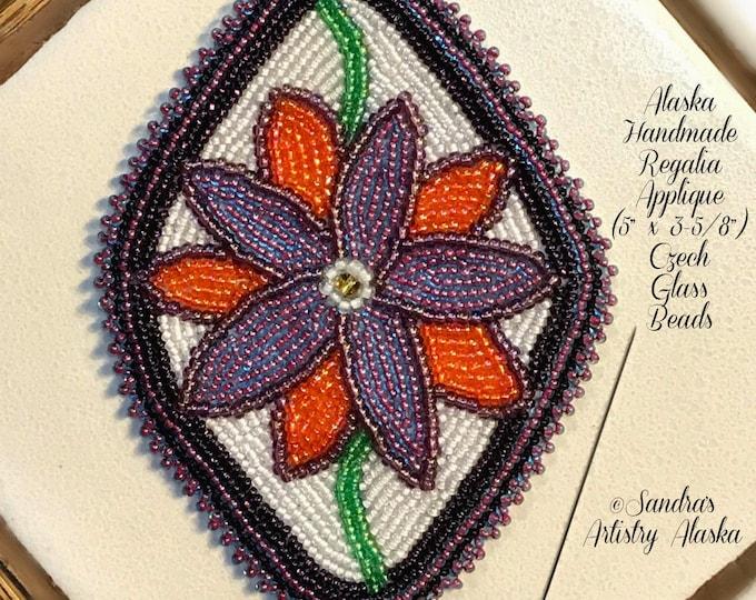 "Alaska Handmade Beaded Boardered Floral-5x3-5/8"" in Czech Glass Beads"