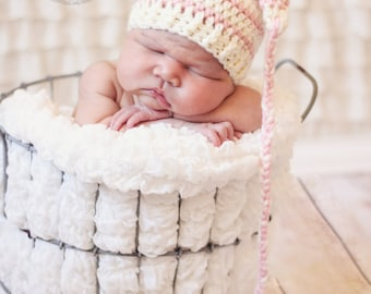Striped stocking hat, crocheted stocking hat, baby gift, photo prop, baby accessory, elf hat, striped baby hat