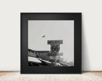 route 66 photograph santa monica photograph california photograph black and white photography travel photography route 66 print
