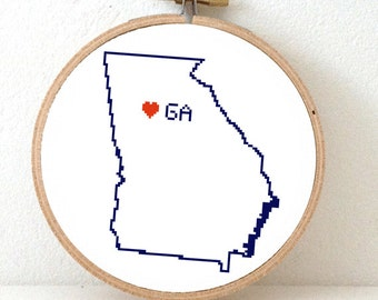 GEORGIA Map Cross Stitch Pattern. Georgia on my mind. Georgia ornament pattern with Atlanta. USA decor. Wedding gift.