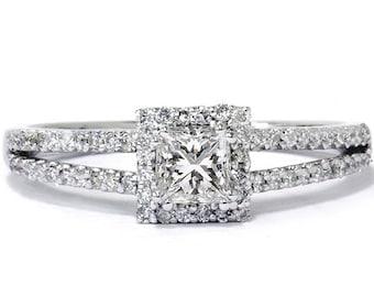 Princess Cut .60CT Diamond Engagement Split Shank Pave Halo Ring Band 14K White Gold Size 4-9