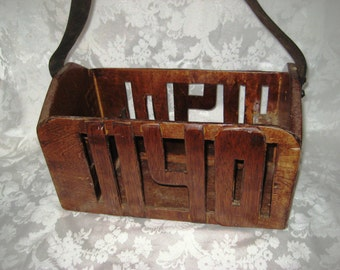 Vintage wood tool box, tool caddy, carrier, leather strap, handmade union 1140 tool box, rustic primitive tool box, industrial tool box