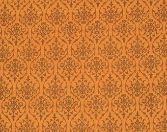 hand printed cotton fabric - orange print fabric - 1 yard - ctjp121